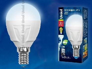 Лампа светодиодная UNIEL UL-00002417 LED-G45 7W/NW/E14 шар Белый свет 4000K