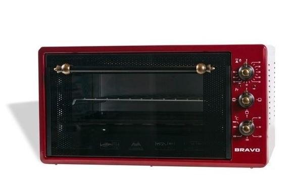Печь электрическая BRAVO FO-45RR 45 л. красная , ручки РЕТРО