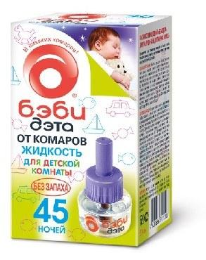 Средство от насекомых БЭБИ ДЭТА Детская жидкость от комаров 45 ночей флакон 30 мл