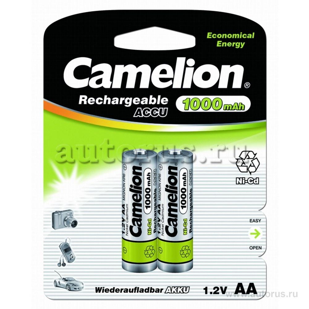 Батарейка Аккумуляторная Camelion AA-1000mAh Ni-Cd BL-2 (NC-AA1000BP2, аккумулятор,1.2В)