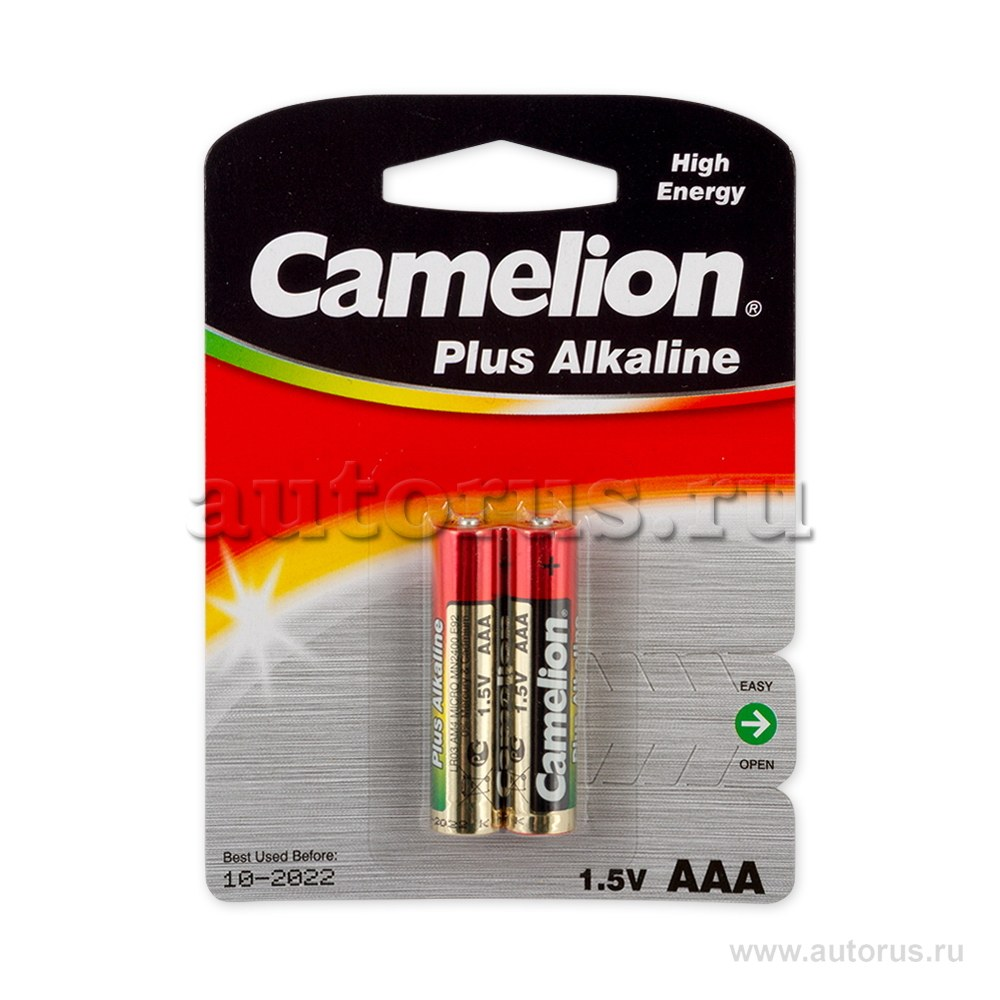 Батарейка алкалиновая тип AAA 1,5В 2шт Camelion Plus Alkaline LR03-BP2