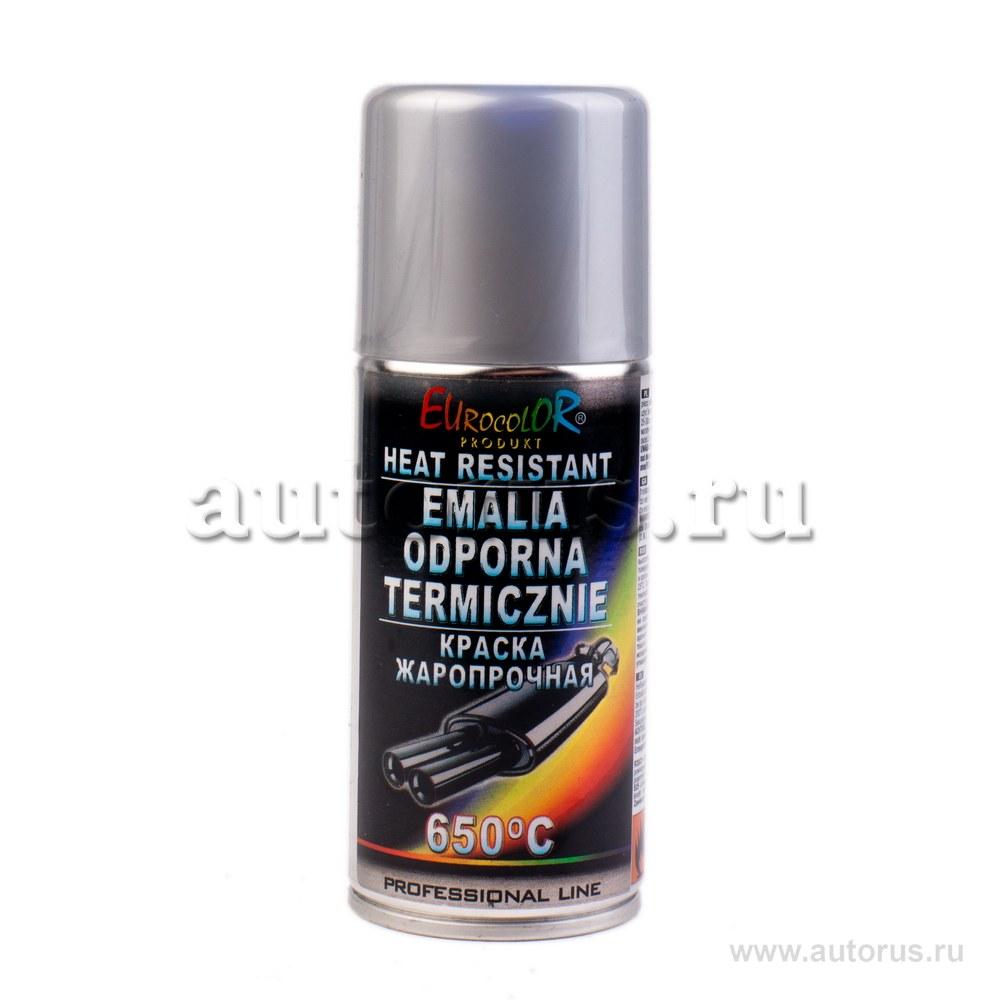 Краска спрей Eurocolor термостойкая серебр. 150мл