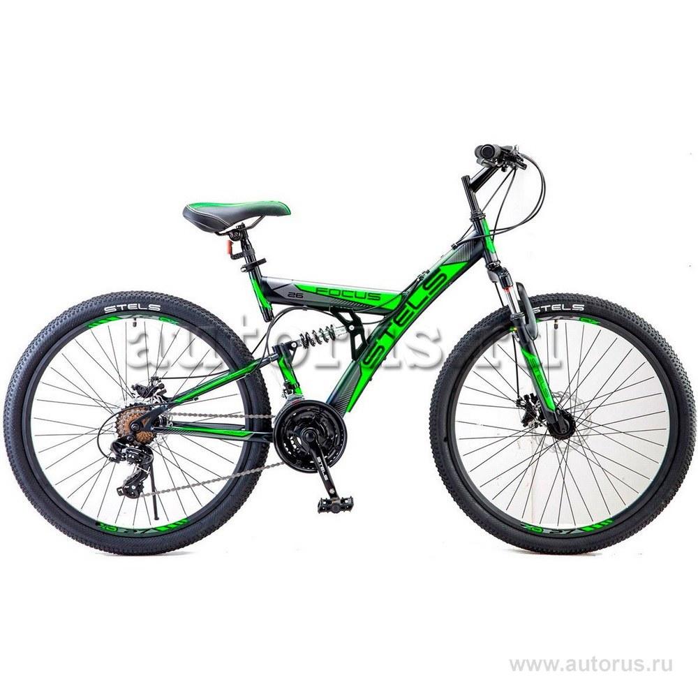 Велосипед 26 горный STELS Focus MD (2018) количество скоростей 21 рама сталь 18 черный/зеленый
