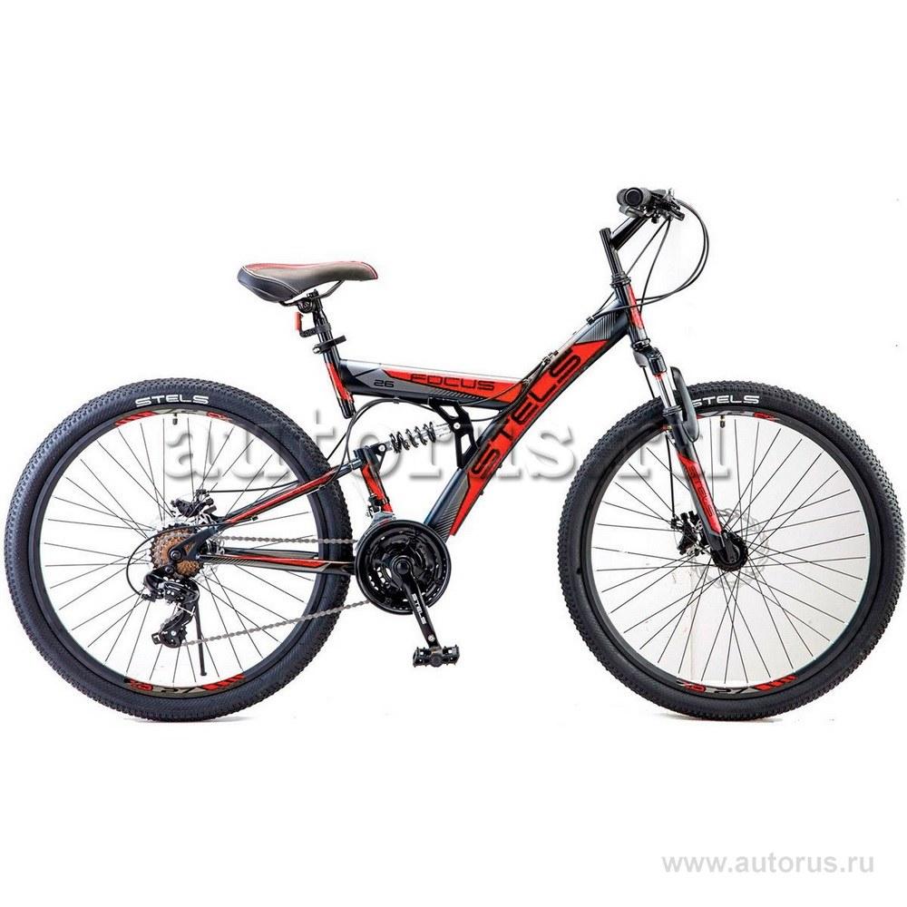 Велосипед 26 горный STELS Focus MD (2019) количество скоростей 21 рама сталь 18 черный/красный