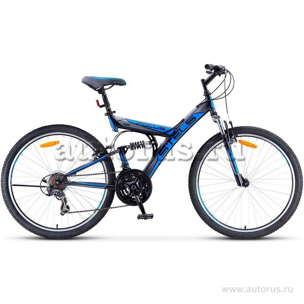 Велосипед 26 горный STELS Focus V (2018) количество скоростей 18 рама сталь 18 черный/синий