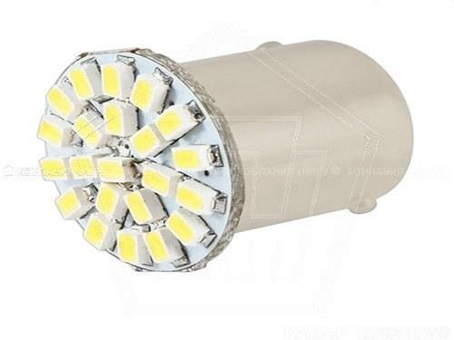 Лампа светодиод 12V S25(P21W) SKYWAY 22SMD с цок,2 конт,бел(габарит,стоп)